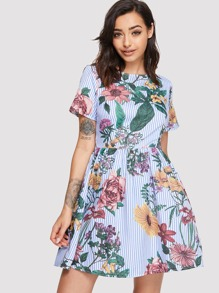 Flower and Stripe Print Smock Dress
