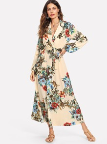 Lantern Sleeve Surplice Wrap Floral Dress