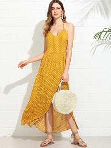 Polka Dot Print Halterneck Dress