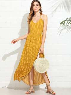 Polka Dot Print Halterneck Dress