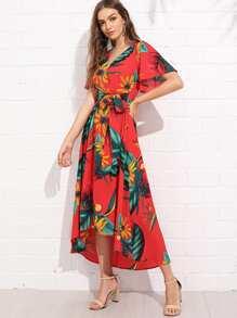 Trumpet Sleeve Surplice Neck Floral Dress