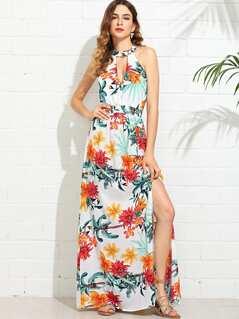 V Cut Choker Floral Halter Dress