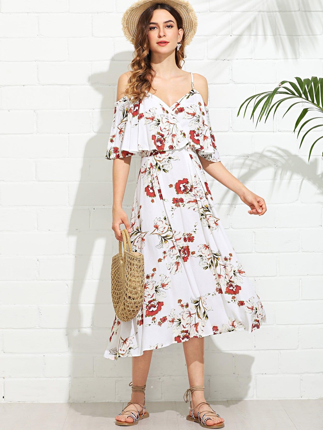 Wrap Front Cold Shoulder Floral Dress cold shoulder floral wrap dress