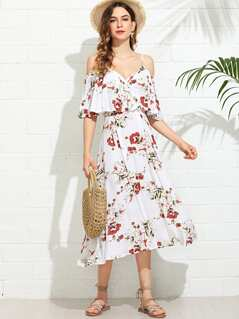 Wrap Front Cold Shoulder Floral Dress