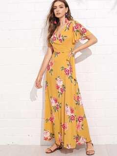 Flower Print High Low Wrap Dress