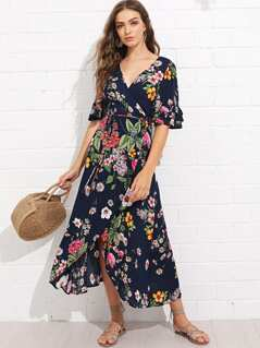 Flower Print Surplice Wrap Dress