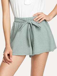 Tie Waist Striped Wide Leg Shorts