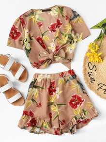 Knot Front Floral Top & Ruffle Shorts Co-Ord