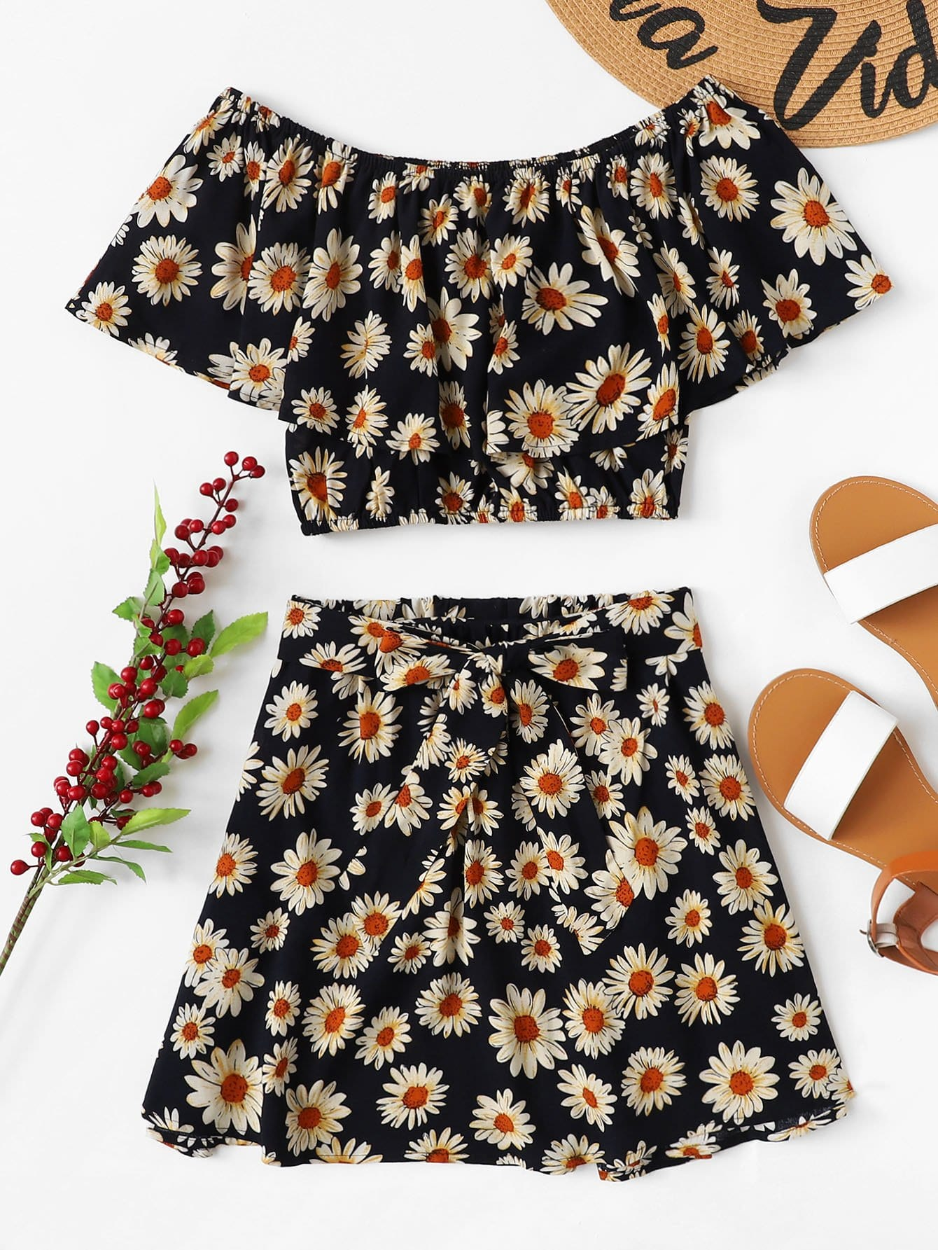 Daisy Print Flounce Bardot Top & Skirt Set flounce light up cosplay skirt