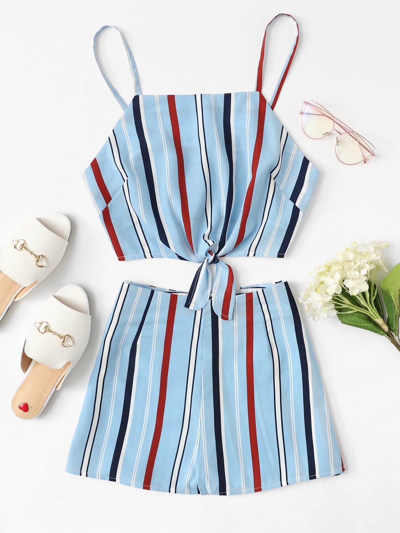 Knot Hem Striped Cami Top & Shorts Set flamingo embroidered striped top and curved hem shorts set