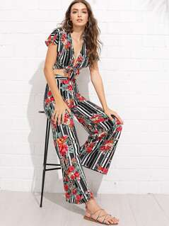 Knot Front Floral & Striped Top & Pants Set