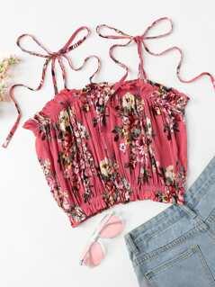 Self Tie Shoulder Floral Cami Top