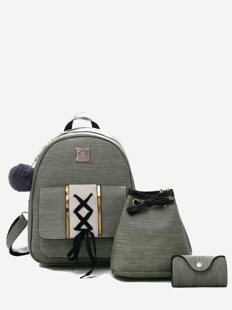 PU Combination Bag 3Pcs With Pom Pom cameo brown pu pom pom trim convertible handbag with chain bag