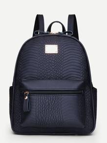 Snakeskin Print PU Backpack