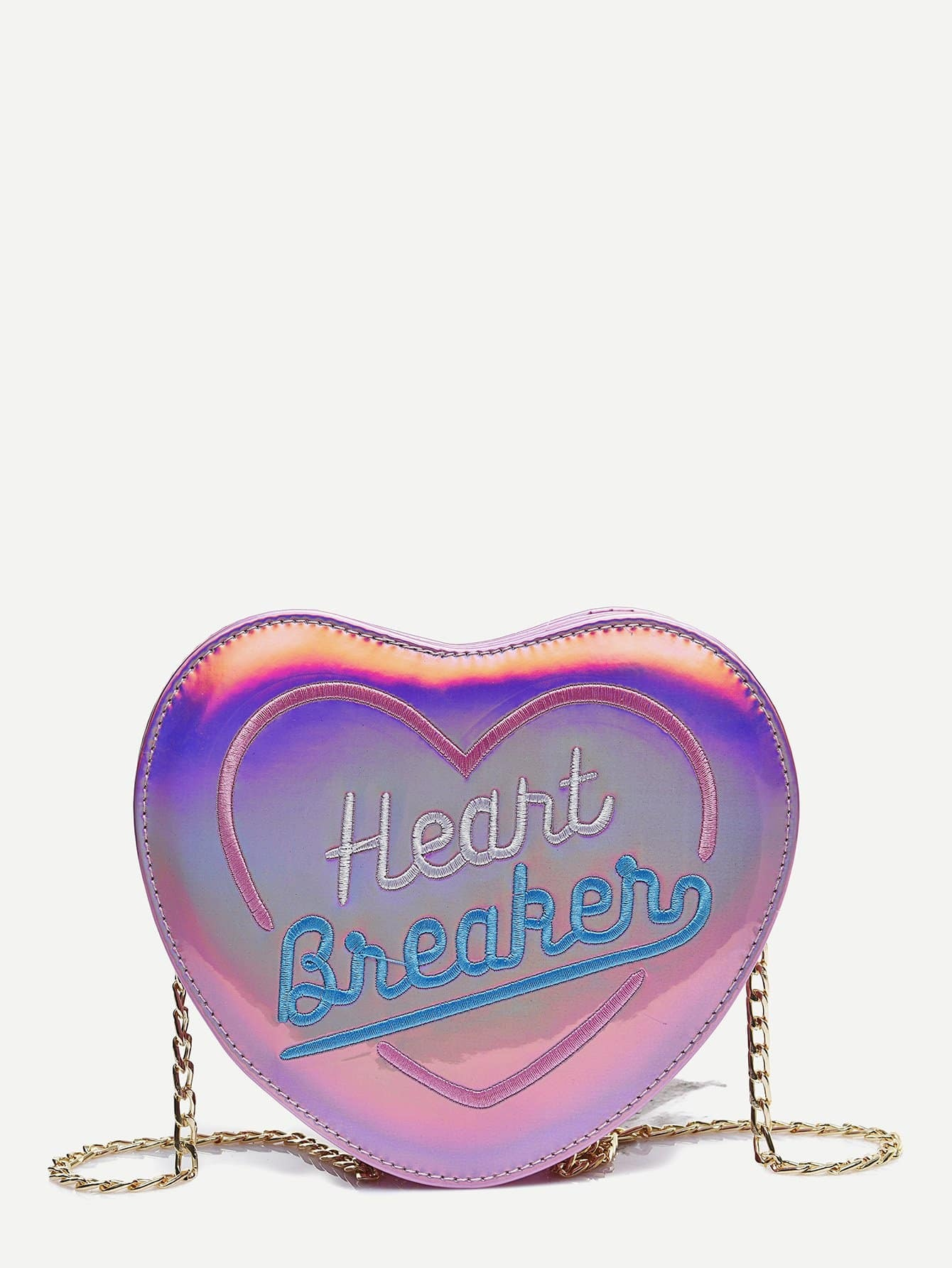 все цены на Letter Embroidered Heart Shaped Chain Bag