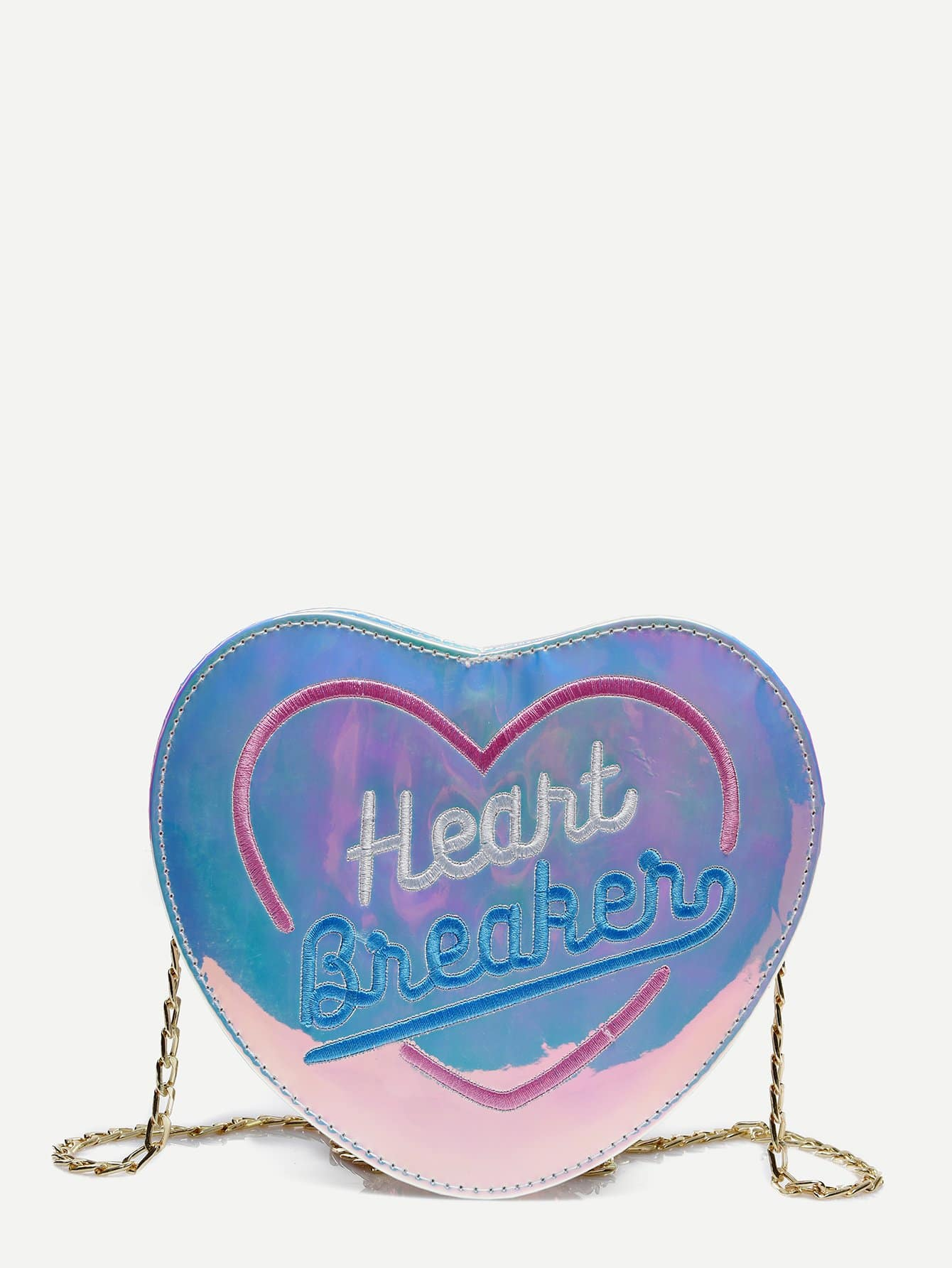 Letter Embroidered Heart Shaped Chain Bag heart shaped decor star chain bag