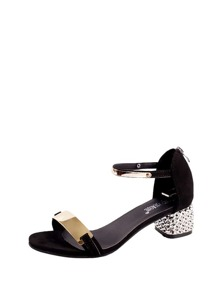 Metal Detail Chunky Heeled Sandals