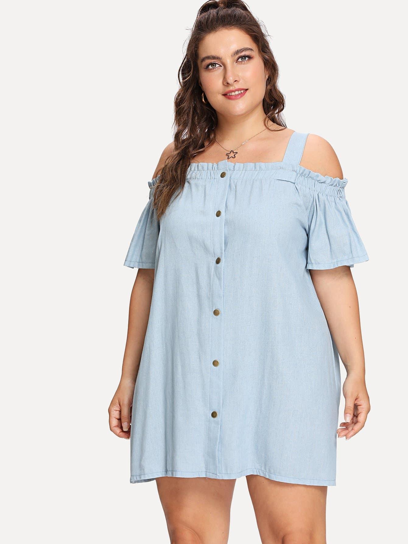 Plus Cold Shoulder Button Denim Dress