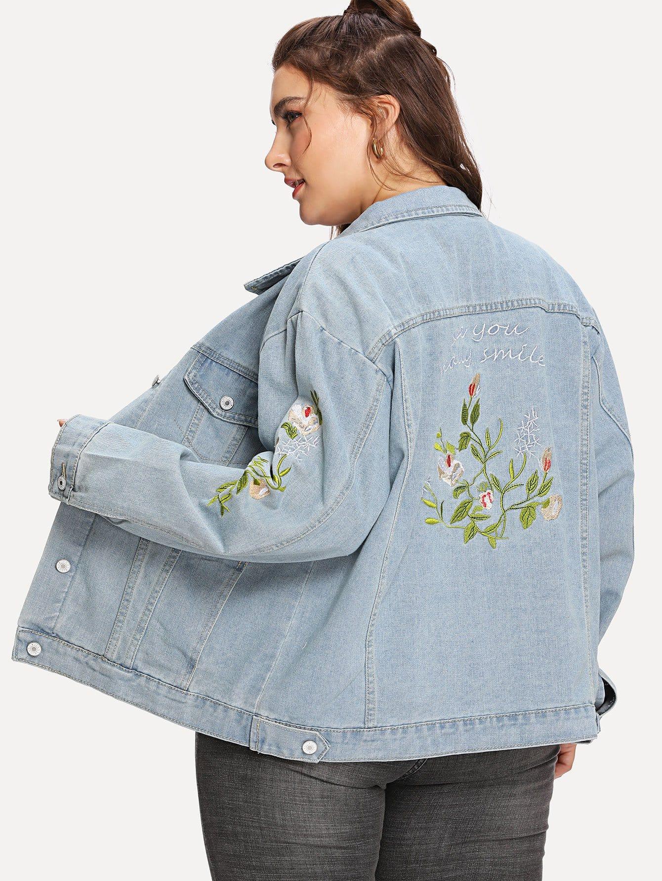 Купить Жакет деним с вышивкой цветы, Franziska, SheIn