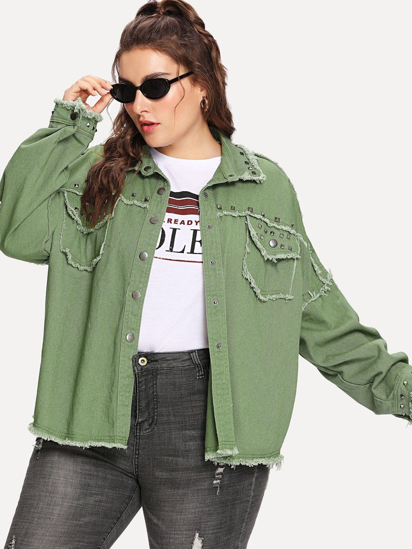 Plus Rivet Frayed Hem Denim Jacket intex 68765