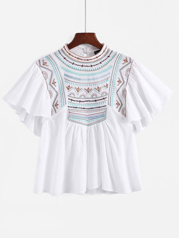 Angel Sleeve Embroidered Babydoll Blouse embroidered cap sleeve babydoll