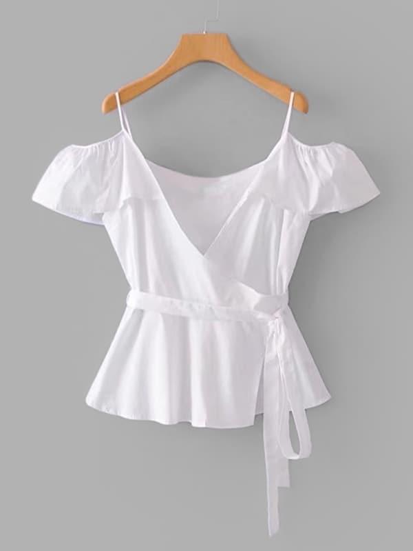 Ruffle Trim Cold Shoulder Blouse ruffle trim blouse