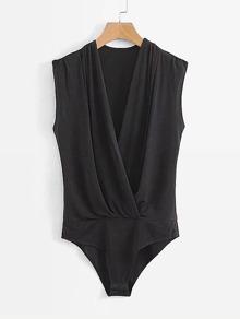 Surplice Neckline Solid Bodysuit