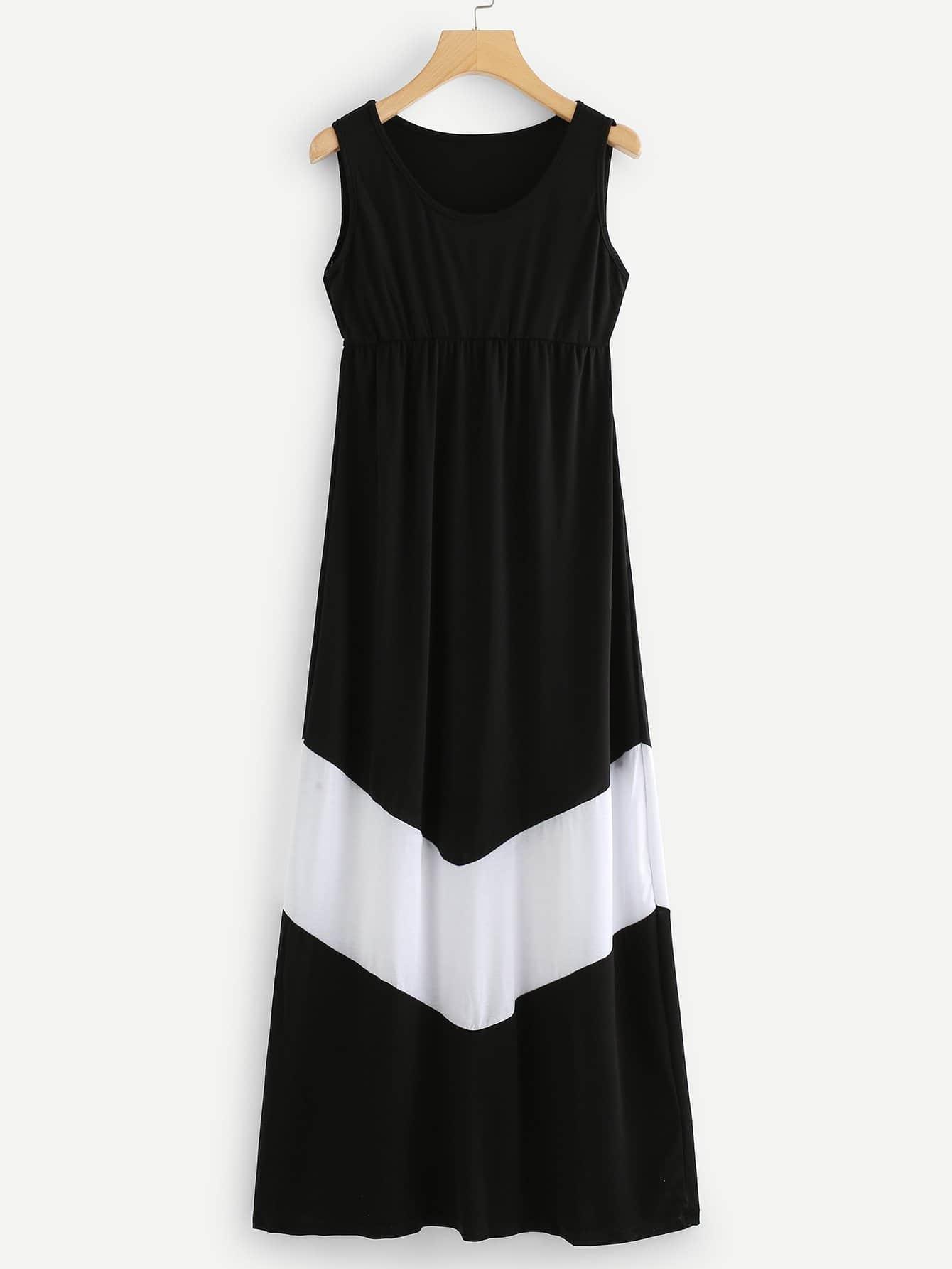Contrast Panel Dress contrast panel asymmetrical casual dress long