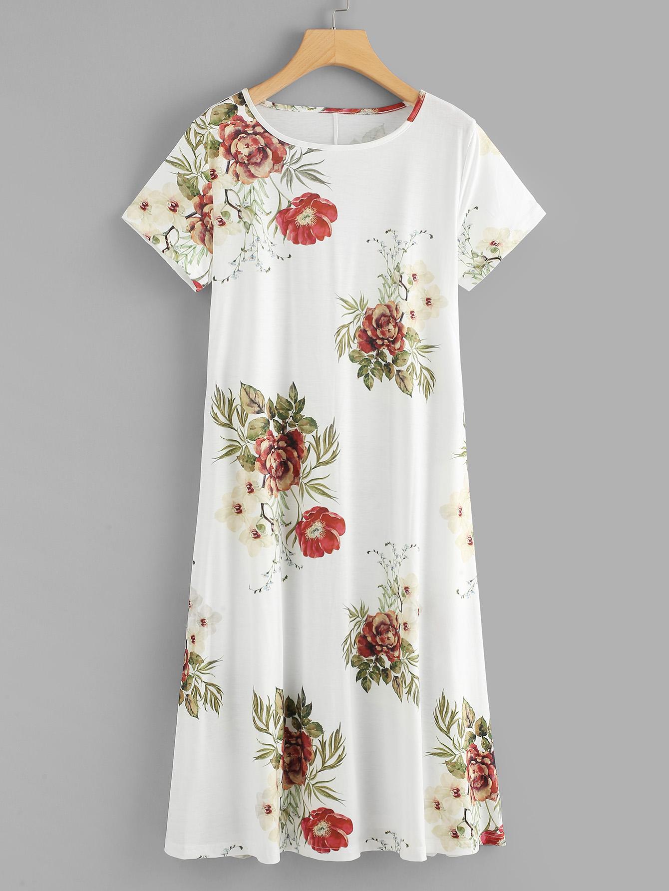 Random Flower Print Dress random flower print dress