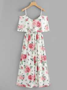 Random Florals Ruffle Layered Split Dress