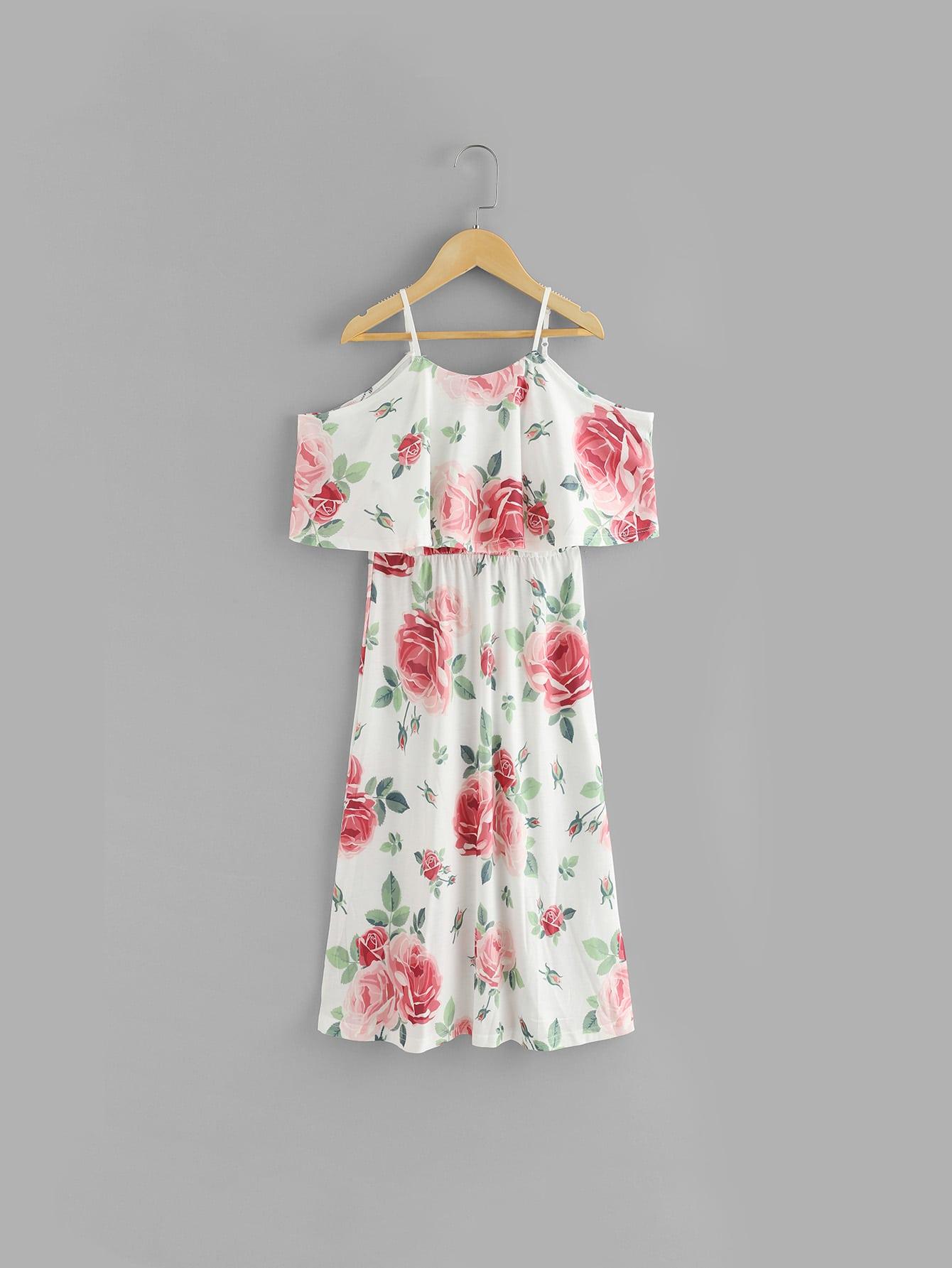 Kids Random Florals Ruffle Layered Dress