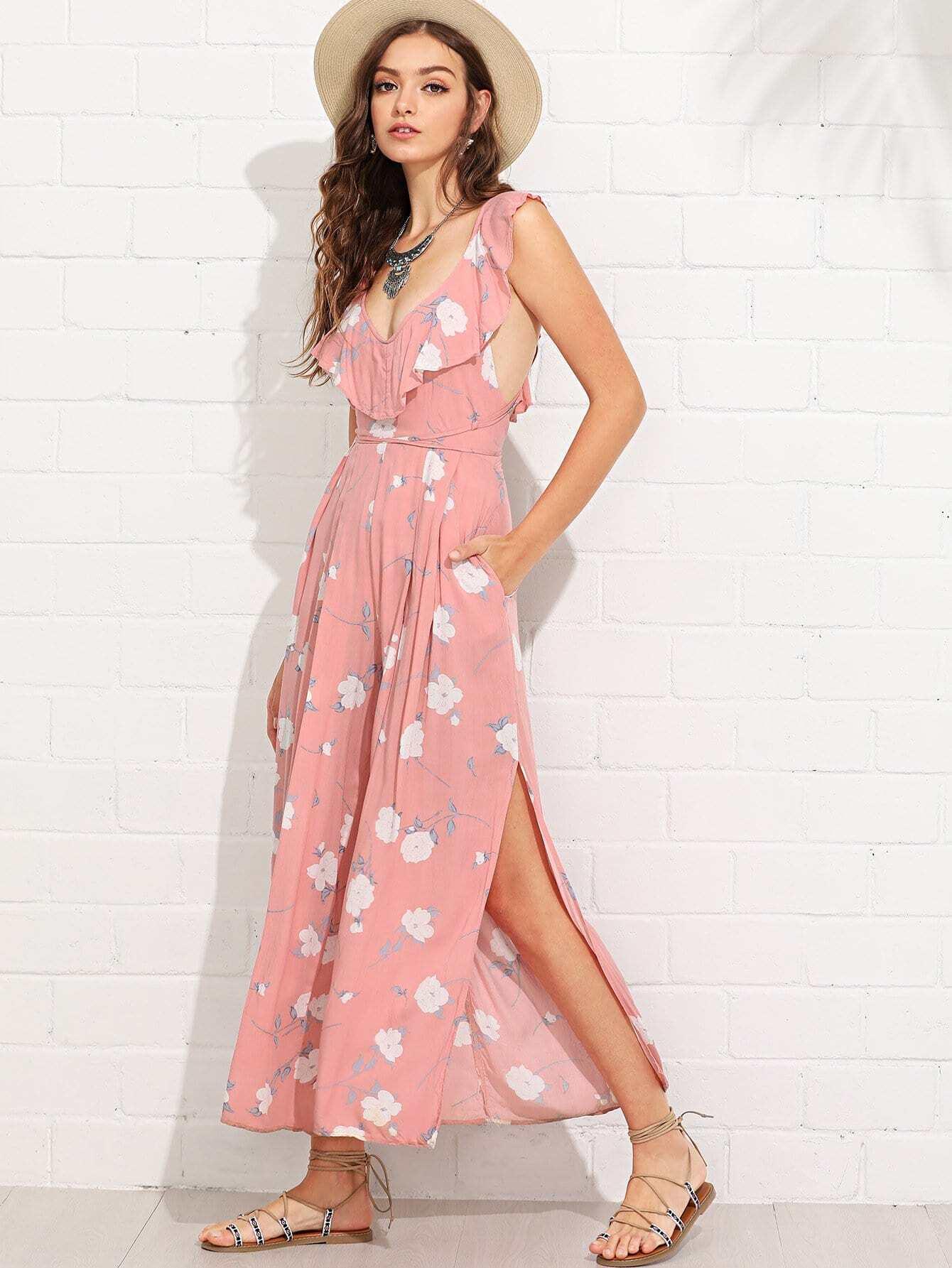Ruffle Trim Criss Cross Back Florals Split Jumpsuit criss cross open back ruffle dress