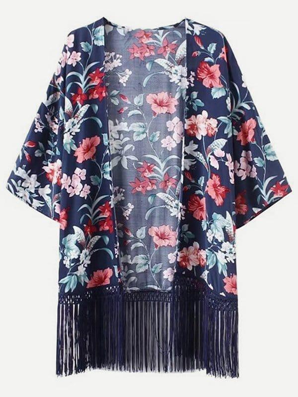 All Over Florals Fringe Hem Kimono all over florals dip hem shirt
