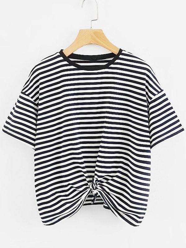 Фото Contrast Stripe Knot Tee men contrast stripe trim tee