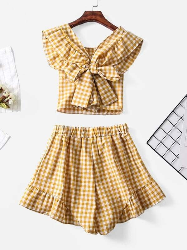 Knot Detail Gingham Blouse With Ruffle Shorts все цены