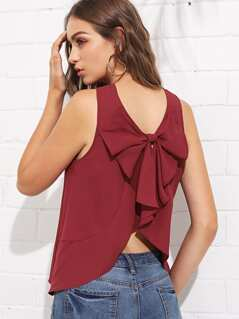 Bow Back Asymmetrical Shell Top