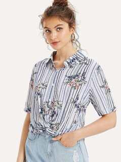 Twist Hem Floral & Striped Blouse