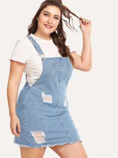 Pocket Front Distressed Denim Overall Dress