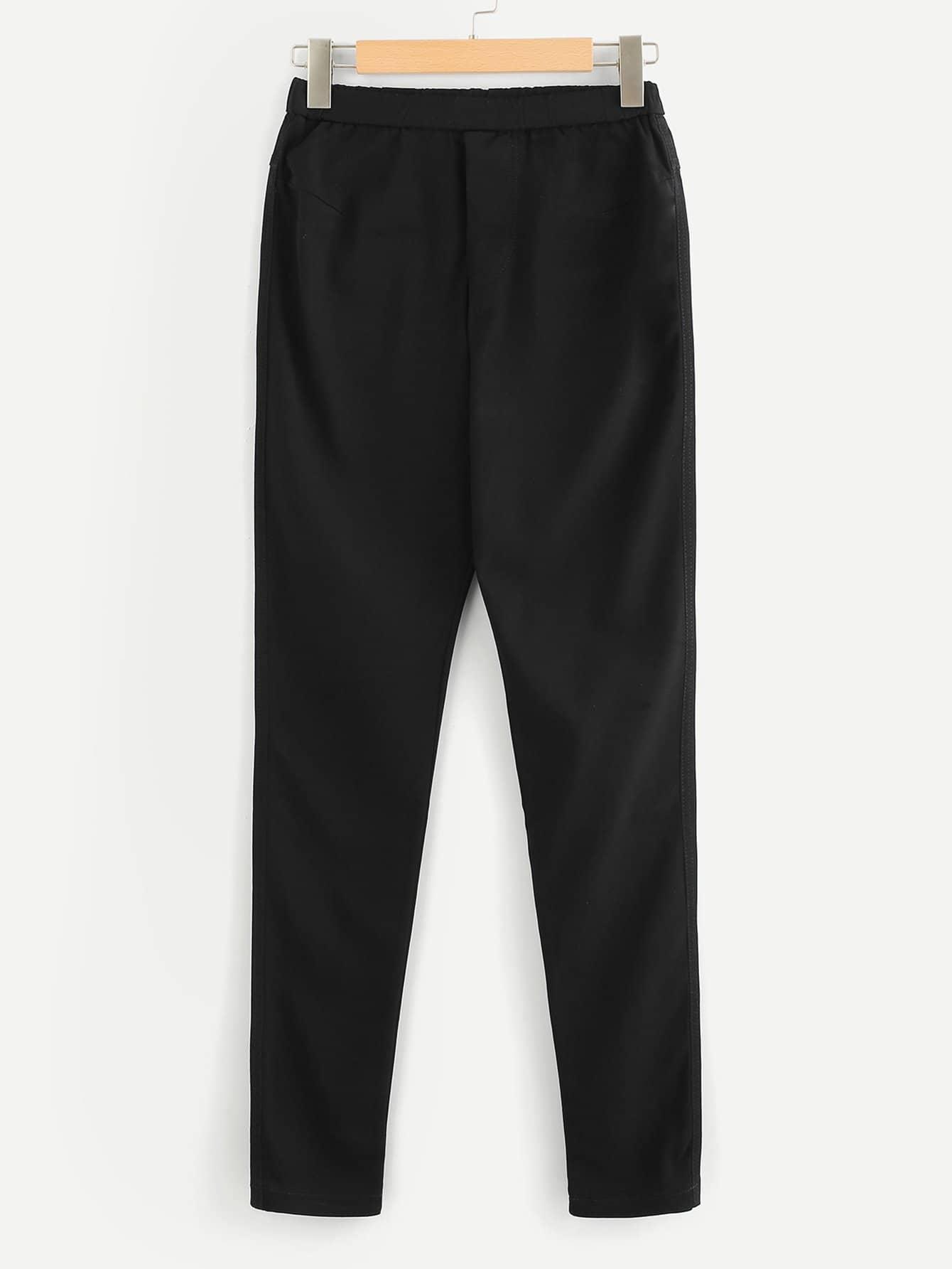 Elastic Waist Faux Fly Stretch Pants elastic waist faux fly stretch pants