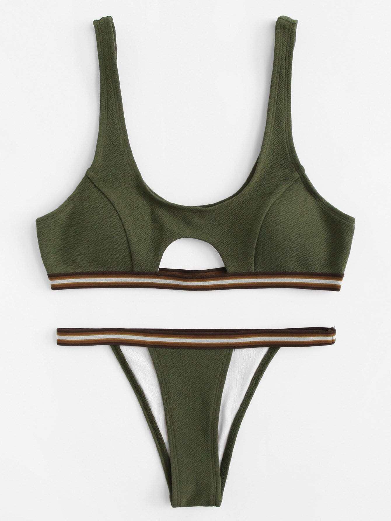 цена на Striped Trim Cutout Textured Bikini Set