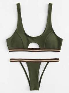 Striped Trim Cutout Textured Bikini Set