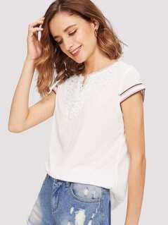 Lace Applique Striped Cuff Slub T-shirt