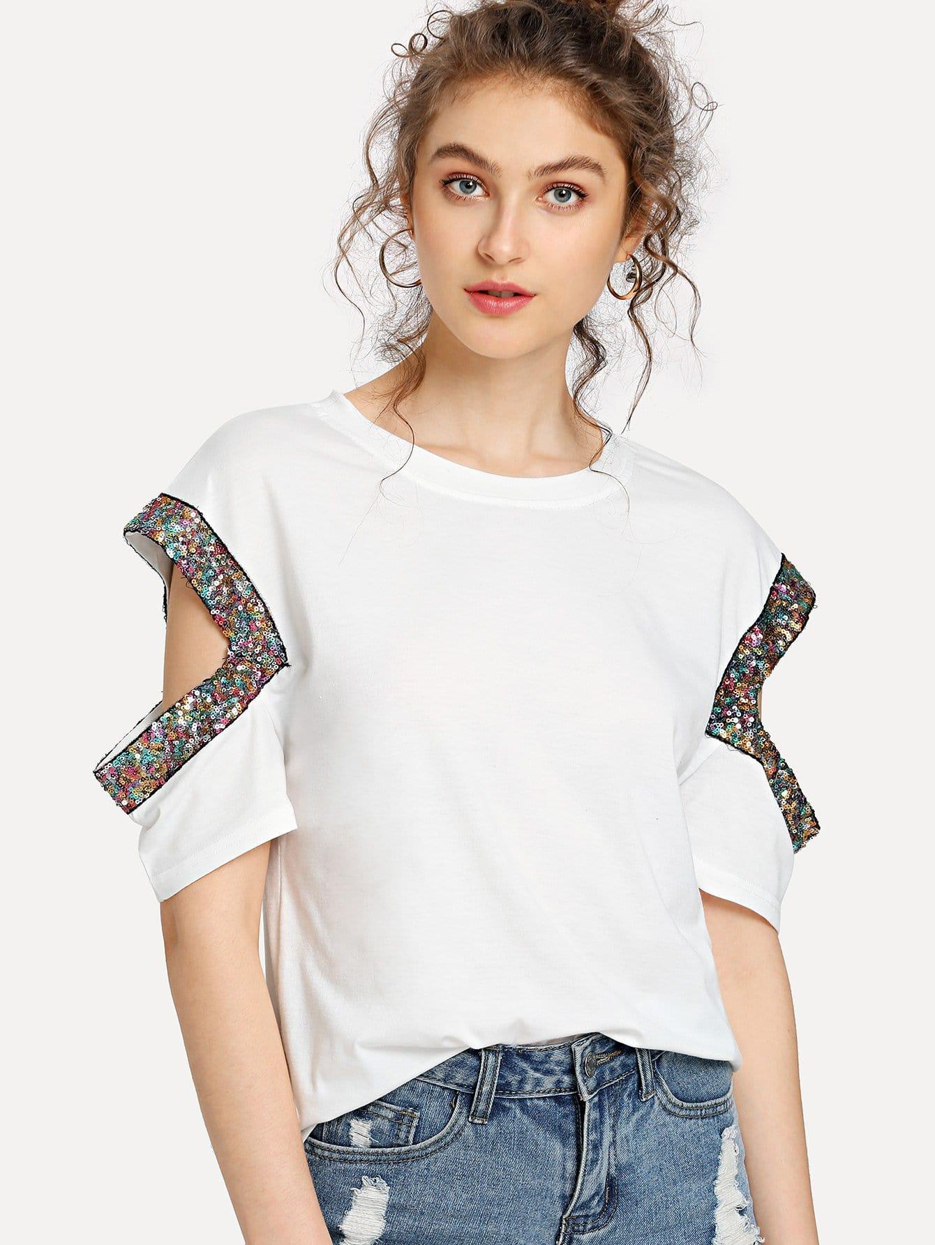 Sequin Detail Cutout Sleeve T-shirt odeon light 2879 4c odl16 015 бронзовый хрусталь люстра потолочная e14 4 60w 220v gardia