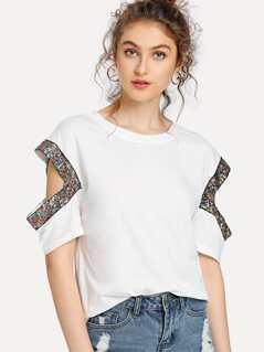 Sequin Detail Cutout Sleeve T-shirt