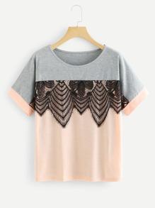 Lace Applique Two Tone T-shirt
