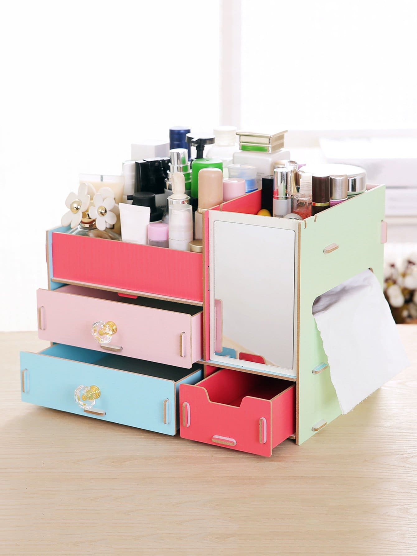 Colorblock Layered Drawer Desk Organizer With Mirror kitcox01761easaf3274bl value kit safco one drawer hospitality organizer saf3274bl and clorox disinfecting wipes cox01761ea