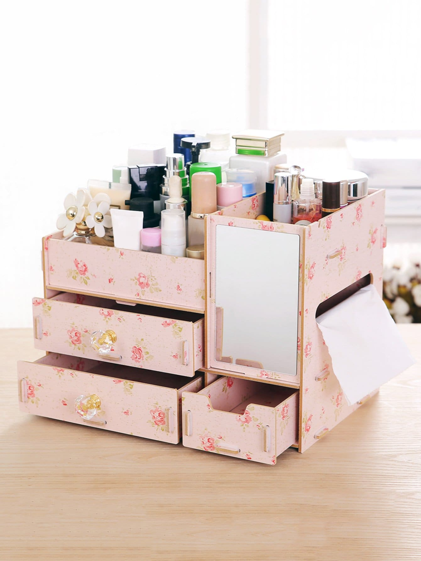 Floral Layered Drawer Desk Organizer With Mirror kitcox01761easaf3274bl value kit safco one drawer hospitality organizer saf3274bl and clorox disinfecting wipes cox01761ea