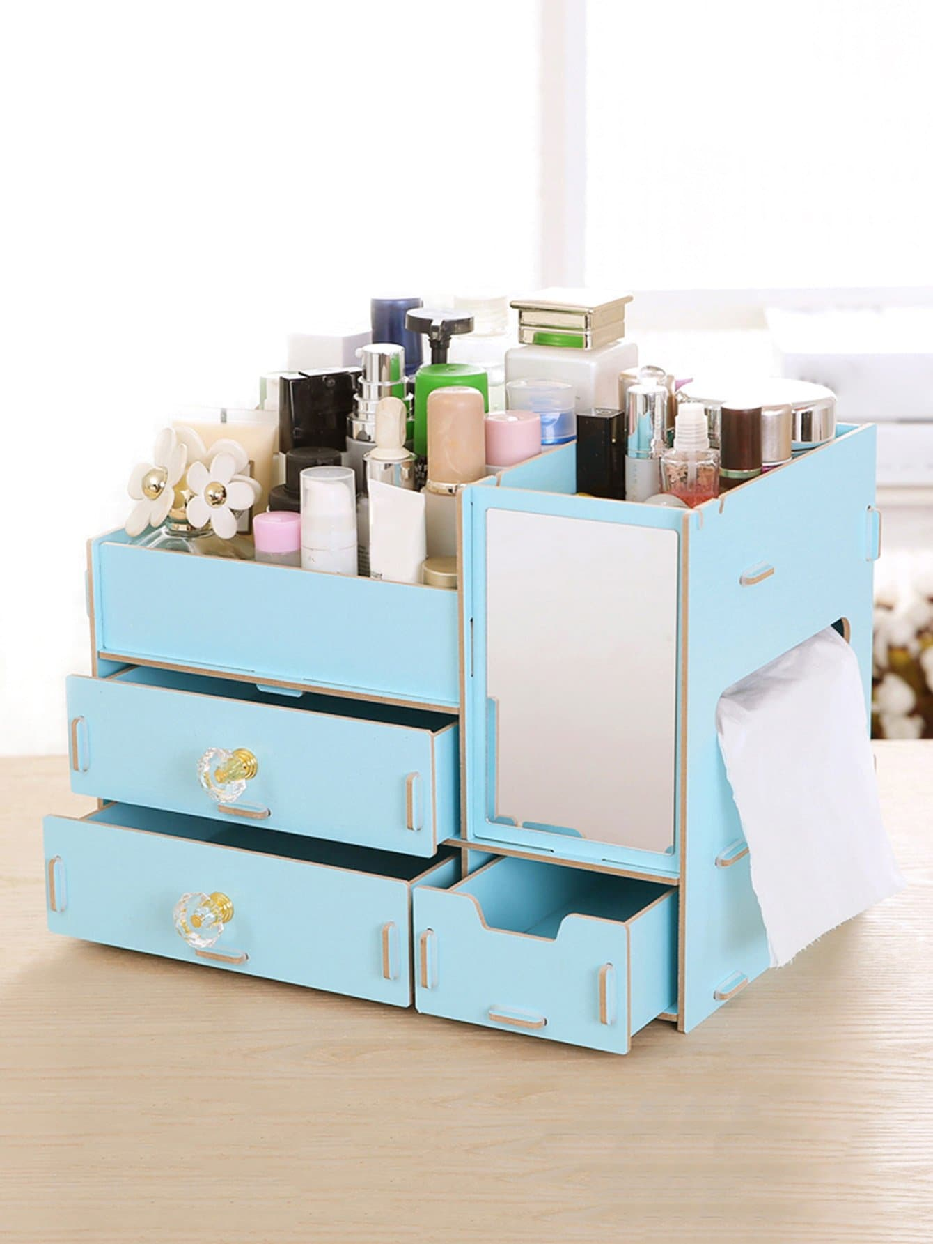 Layered Drawer Desk Organizer With Mirror kitcox01761easaf3274bl value kit safco one drawer hospitality organizer saf3274bl and clorox disinfecting wipes cox01761ea