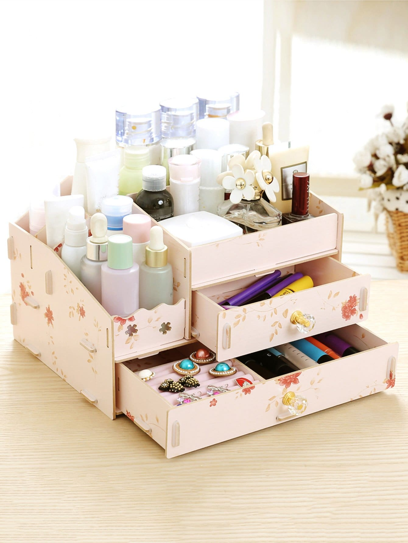 Flower Drawer Desk Organizer kitcox01761easaf3274bl value kit safco one drawer hospitality organizer saf3274bl and clorox disinfecting wipes cox01761ea