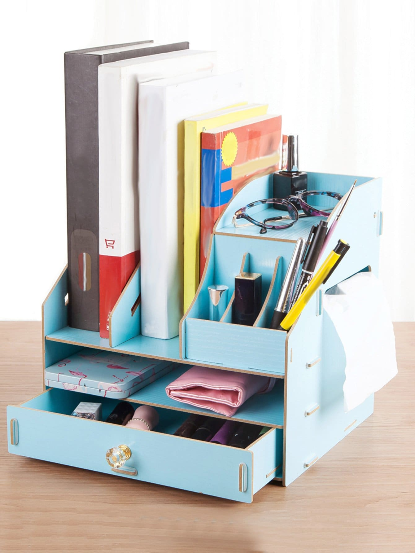 Compartment Desk Organizer With Drawer kitcox01761easaf3274bl value kit safco one drawer hospitality organizer saf3274bl and clorox disinfecting wipes cox01761ea